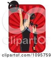 Clipart Women Lifting Bargells Over Red Rays Royalty Free Vector Illustration