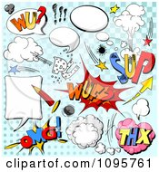 Clipart Comic Sounds And Design Elements Over Blue Royalty Free Vector Illustration by Pushkin