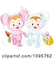 Clipart Two Easter Babies In Bunny Costumes With A Carrot And Basket Of Eggs Royalty Free Vector Illustration