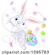 Clipart Cute Gray Easter Bunny Dancing With Butterflies And Eggs Royalty Free Vector Illustration