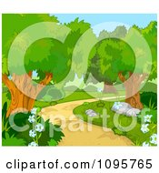 Clipart Foot Path Curving Through The Woods Royalty Free Vector Illustration by Pushkin