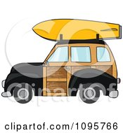 Black Woodie Station Wagon With A Surfboard On Top