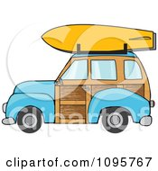 Blue Woodie Station Wagon With A Surfboard On Top