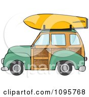 Green Woodie Station Wagon With A Surfboard On Top