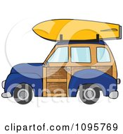 Navy Blue Woodie Station Wagon With A Surfboard On Top