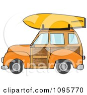 Clipart Orange Woodie Station Wagon With A Surfboard On Top Royalty Free Vector Illustration by djart