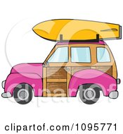 Clipart Pink Woodie Station Wagon With A Surfboard On Top Royalty Free Vector Illustration
