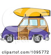 Purple Woodie Station Wagon With A Surfboard On Top