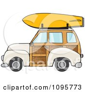 Beige Woodie Station Wagon With A Surfboard On Top