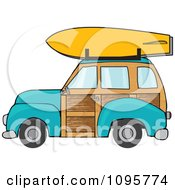 Turquoise Woodie Station Wagon With A Surfboard On Top