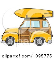 Yellow Woodie Station Wagon With A Surfboard On Top