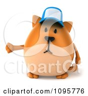 Clipart 3d Presenting Chubby Orange Cat Wearing A Hat Royalty Free CGI Illustration