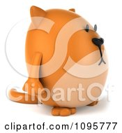 Clipart 3d Chubby Orange Cat Holding A Sign On A Post 1 Royalty Free CGI Illustration