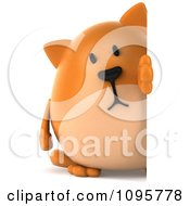Clipart 3d Chubby Orange Cat Looking Around A Sign Royalty Free CGI Illustration