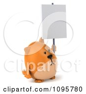 Clipart 3d Chubby Orange Cat Holding A Sign On A Post 2 Royalty Free CGI Illustration