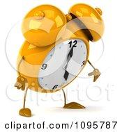 Clipart 3d Yellow Alarm Clock Pouting 2 Royalty Free CGI Illustration