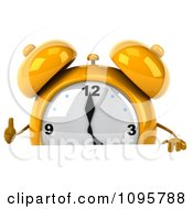 Clipart 3d Yellow Alarm Clock Holding A Thumb Up Over A Sign Royalty Free CGI Illustration