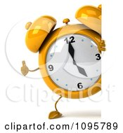 Clipart 3d Yellow Alarm Clock Holding A Thumb Up Around A Sign Royalty Free CGI Illustration