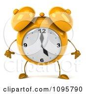 Clipart 3d Yellow Alarm Clock Pouting 1 Royalty Free CGI Illustration