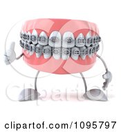 3d Thumb Up Metal Mouth Teeth Character With Braces 1