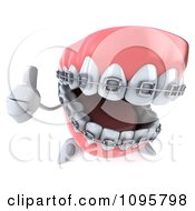 Clipart 3d Thumb Up Metal Mouth Teeth Character With Braces 2 Royalty Free CGI Illustration