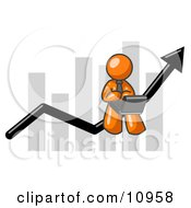 Orange Man Using A Laptop Computer Riding The Increasing Arrow Line On A Business Chart Graph Clipart Illustration