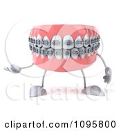 Clipart 3d Presenting Metal Mouth Teeth Character With Braces 1 Royalty Free CGI Illustration