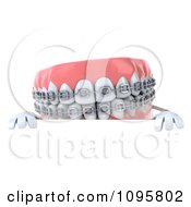 Clipart 3d Metal Mouth Teeth Character With Braces And A Sign 1 Royalty Free CGI Illustration