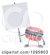 Clipart 3d Metal Mouth Teeth Character With Braces And A Sign 3 Royalty Free CGI Illustration