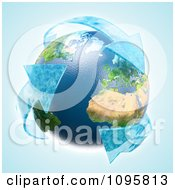 Clipart 3d Earth With Recycle Water Arrows Royalty Free CGI Illustration