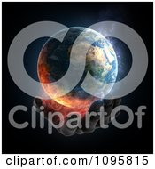Clipart 3d Hand Under A Burning Earth Royalty Free CGI Illustration by Mopic #COLLC1095815-0155