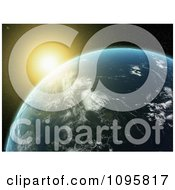 Clipart The Sun Glowing And Setting Over A 3d Earth Royalty Free CGI Illustration