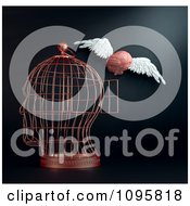 Clipart 3d Winged Brain Flying Away From A Head Shaped Cage Royalty Free CGI Illustration by Mopic