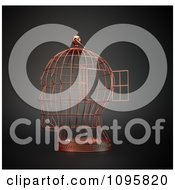 Clipart 3d Head Shaped Bird Cage With An Open Door Royalty Free CGI Illustration