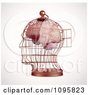 3d Brain Trapped In A Head Shaped Cage With An Open Door