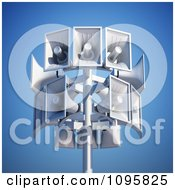 Clipart 3d Megaphone Loudspeakers On A Pole Against A Blue Sky Royalty Free CGI Illustration
