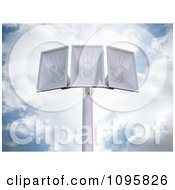 Clipart 3d Megaphone Loudspeakers On A Pole Against A Cloudy Sky Royalty Free CGI Illustration by Mopic