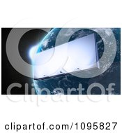 Clipart 3d Billboard Orbiting Around Planet Earth Royalty Free CGI Illustration