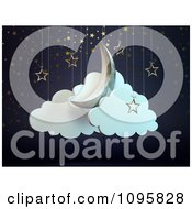 Clipart 3d Crescent Moon Star And Cloud Theater Display Royalty Free CGI Illustration