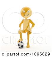 Clipart 3d Orange Man Resting A Foot On A Soccer Ball Royalty Free CGI Illustration by Mopic
