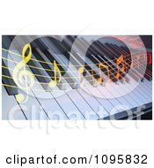 Clipart Colorful Music Flowing Over A 3d Keyboard Royalty Free CGI Illustration
