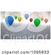 3d Colorful Balloons Floating Over Cobblestones