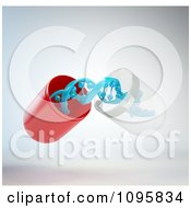 Clipart 3d Open Gene Therapy Pill Capsule With A Blue Dna Strand Royalty Free CGI Illustration