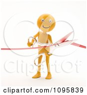 Clipart 3d Orange Man Cutting A Ribbon During A Grand Opening Ceremony Royalty Free CGI Illustration