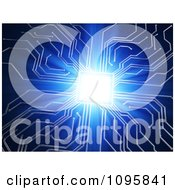 Clipart 3d Blue Circuit Board Glowing Brightly Royalty Free CGI Illustration by Mopic