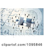 Clipart 3d Tiny Business People Approaching A Missing Puzzle Piece Hole Royalty Free CGI Illustration