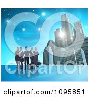 Clipart Silhouetted Business Team Standing Over A Blue Skyscraper Background Royalty Free Vector Illustration