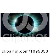 Clipart Total Eclipse With Blue Light On Black Royalty Free Vector Illustration