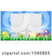 Clipart Blank Sign Over Easter Eggs In Grass Over A Blue Sky Royalty Free Vector Illustration