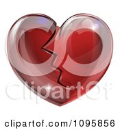 Clipart 3d Shiny Broken Red Glass Heart Royalty Free Vector Illustration by AtStockIllustration